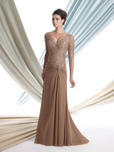 A-line/Princess Halv Ärm V-Ringad Floor-length Applique Chiffong Dress