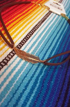 Gold Feather Leather Choker Necklace