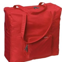 """Baggallini travel tote. 17""""W x 6""""D x 17""""H unfolded;folded: 7"""" sq. 12oz.; $25 at TravelSmith.com. Would use this to bring blanket, pillow, food, etc. on plane and shop when traveling. Also as a beach bag. Folds into its own zippered  pouch when not in use."""