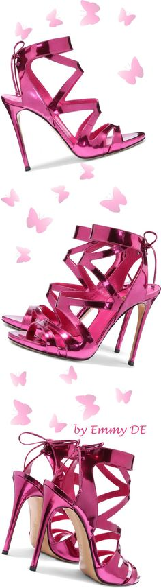 Casadei ~ Pink Metallic + Leather Sandal Heels