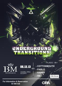This Friday 6th of December, Ora Beirut proudly hosts in collaboration with B13 Management : Underground Transitions | With. PABLO / COTTONMOUTH / HAMPY / RA & CHRIS Z  For More Information, Check the Link Below: http://rpnlebanon.com/site/underground-transitions-with-pablo-cottonmouth-hampy-ra-chris-z/