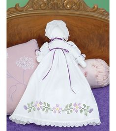 Stamped White Pillowcase Doll Kit-Starflowers, , hi-res