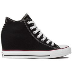 Converse Chuck Taylor All Star Lux Mid Top Sneaker Wedges - Black ($65) ❤ liked on Polyvore featuring shoes, sneakers, black, black wedge shoes, lace up wedge sneakers, converse shoes, wedge heel sneakers and black trainers