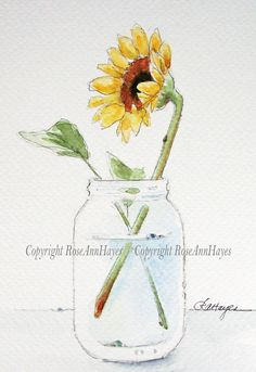 Sunflower in Jar Original Watercolor Painting Wildflower Floral Bouquet Garden…