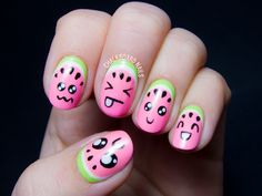 Kawaii watermelon nail art by @chalkboardnails