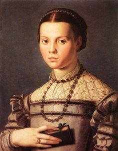 Portrait d'une jeune fille (1541-45). Huile sur bois, 58 × 46,5 cm, Galerie des Offices, Florence