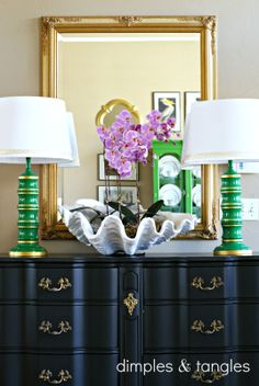 Dimples and Tangles: Painted thrift store lamps. Nice detail on how to paint gold bands.