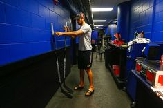 Marcus Kruger picks out his stick before Wednesday's morning skate. #StanleyCup