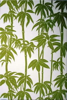 Tropical, and off! Florence Broadhurst 'Japanese Bamboo' fabric wall art in green and off white Bamboo Wallpaper, Dining Room Wallpaper, Fabric Wallpaper, Of Wallpaper, Asian Wallpaper, Wallpaper Designs, Florence Broadhurst, Japanese Bamboo, Japanese Patterns