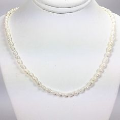 White Baroque Small Pearl Necklace Vintage 17 inch Strand Gold Tone n502