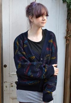 Retro Vintage Cardigan 80's Video Game Shapes and Patterns