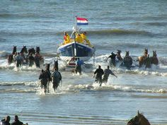 Ameland, de reddingsboot.  Notice Friesdan horses being used in the rescue.