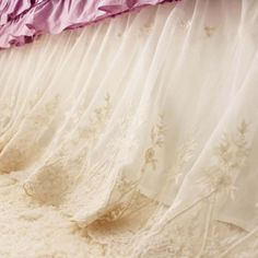 Luxury, elegant, and beautiful embroidery lace bed skirt that everyone deserves to have! Custom made length and size.