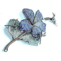 Brooch with white & blue diamond, blue sapphire, blue zircon
