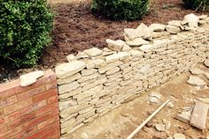 Beautiful new retaining walls nearly finished for a new garden. Made from local Horsham stone. Path Edging, Gravel Path, Horsham, Retaining Walls, Outdoor Pool, Vegetable Garden, Pools, Perennials, Brick