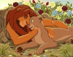 """The Lion King - SIMBA AND NALA - cartoons - """"A beautiful illustration of the Lion King and his beloved Nali"""". Simba E Nala, Simba Rey Leon, Nala Lion King, Lion King Fan Art, Lion And Lioness, Lion King Series, Lion King Movie, Disney Lion King, Lion King Wedding"""