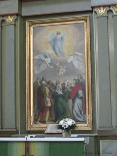 The altarpiece describing the Ascensi on of Christ was painted and donated by Berndt Godenhjelm (1799-1881). This work ofart was the first altarpiece painted by Godenhjelm, who was born in Mäntyharju in 1799. Mäntyharju church, Finland