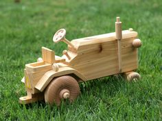 Wooden Tractor Reclaimed Wood Toy for Children Natural Unpainted No metal. via Etsy.