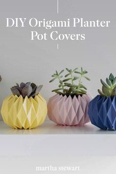 Easily make one of these origami planter pots covers with a few supplies like pretty cardstock and our printable origami planter cover template. Follow our step-by-step directions to this easy gardening DIY along with other simple craft ideas. #marthastewart #crafts #diyideas #easycrafts #tutorials #hobby Household Plants, Diy Origami, Cover Template, Wedding Crafts, Easy Garden, Home Improvement Projects, Cool Things To Make, Easy Crafts, Activities For Kids