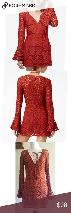 Free People Back To Back Crochet Mini Dress Size 4! Free People Back To Back Crochet Mini Dress in Terracotta! Boho meets sexy in this crochet dress!   Nylon/cotton; lining: rayon Hand wash V-neckline with tie detail Long flared sleeves Allover crochet lace; lined Bodycon silhouette Hits above knee Free People Dresses Mini