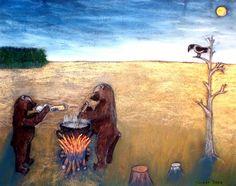 Björnar kokar gröt, pastell på papper. Bears make porridge, pastel on paper.