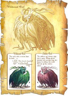 Flight Rising Bestiary: Wildwood Owls by neondragon