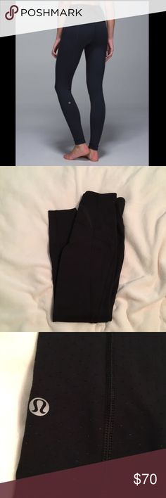"""Lululemon Exquisite Pant High waisted """"Exquisite Pant"""". Black leggings with Shine Dot pattern. Size 4. Hemmed to a 26 inch inseam. Excellent condition; barely worn. lululemon athletica Pants Leggings"""
