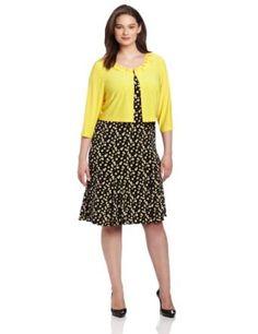 Julian Taylor Womens Plus-Size Print Dress With Solid Jacket, Sunshine, 22,