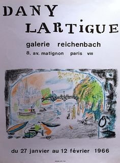 Vintage French Exhibition Poster 1966 Galerie Reichenbach Drawing by Dany Lartigue