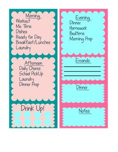 Free printable daily schedule