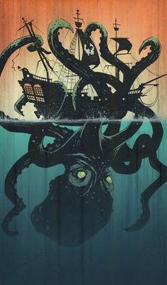 Octopus or Kraken by Tyler Champion 🐙 would be an awesome tattoo! Mythical Creatures, Sea Creatures, Le Kraken, Kraken Art, Kraken Squid, Sea Of Thieves, Illustration Art, Illustrations, Octopus Art