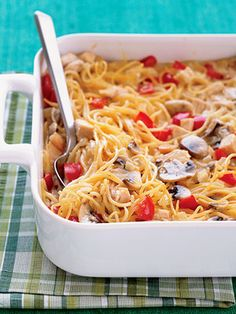 Whether for family dinners or potlucks, chicken casseroles are always a winner. This chicken and spaghetti favorite is made extra cheesy with a blend of Swiss, cheddar, and Parmesan cheese.