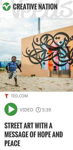Born in France to Tunisian parents, eL Seed delights in juggling multiple cultures, languages and identities. Not least in his artwork, which sets Arabic poetry in a style inspired by street art and.. | #peace #streetart | http://veeds.com/i/8scvvFYIgJlc4Ksj/creativenation/