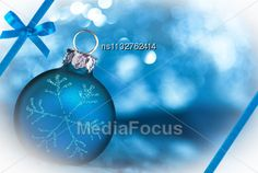 Blue Decoration Christmas Card With Copy Space Stock Photo
