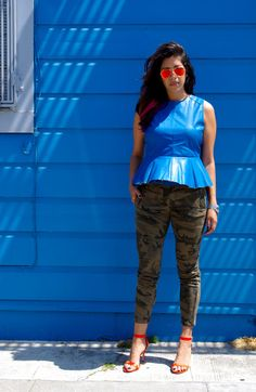 Camouflage pants and orange Loeffler Randall sandals | La Vie de Villa #fashion #streetstyle #blogger
