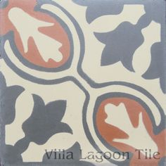 Avallon cement tile in TerraCotta and Charcoal from Villa Lagoon Tile