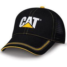 fdb6042ff384c Caterpillar CAT Caps - Caterpillar Merchandise - CAT Caps - Caterpillar CAT  Black Twill Mesh Snapback