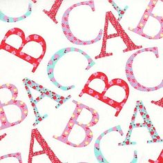 Oh Baby Cotton Fabric by Michael Miller - Sparkly Fabric Alphabet School Fabric