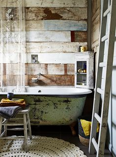 Rustic Bathroom with clawfoot tub Cabin Bathrooms, Rustic Bathrooms, Clawfoot Tub Bathroom, Bathtub, Downstairs Bathroom, Small Space Bathroom, Small Spaces, Small Bathrooms, Home Design
