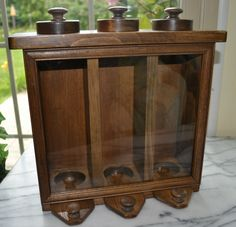 Glass Front Wooden Food Dispenser, Candy Dispenser, Storage, Display