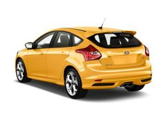 2014 Ford Focus yellow Hatchback ST Angular Rear Exterior View 2014 Ford Focus ST   well equipped attractive small cars