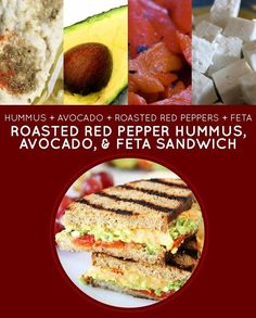 Roasted Red Pepper Hummus, Avocado & Feta Sandwich | 15 Meatless Lunch Sandwiches That Kids Will Love