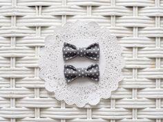 Baby Girl Bow - Gray Polka Dot Pigtail Bows by RicheyandRoo on Etsy, $3.00