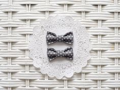 Baby Girl Bow - Gray Polka Dot Pigtail Bows by RicheyandRoo on Etsy, $3.00