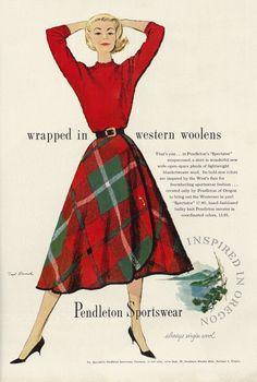 "Illustrated 1957 Fashion Ad, Vogue, Pendleton Sportswear, Red Plaid ""Spectator"" Wraparound Wool Skirt, Artwork by Ted Rand Plaid Wool Skirt, Wool Skirts, Retro Mode, Vintage Mode, 1950s Style, 1950s Fashion, Vintage Fashion, Club Fashion, Vintage Outfits"