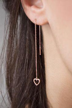 Cartilage chain earrings Sterling Meteorite earrings  Thin threader earrings silver