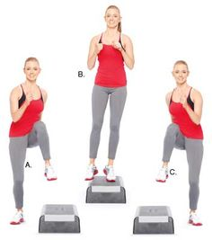 Up-and-over knee raises. Works: Cardio, calves, hamstrings, glutes and abdomina. Step Aerobic Workout, Aerobics Workout, Butt Workout, Exercice Step, Train Insane Or Remain The Same, What Is Hot, Online Coaching, Sports Nutrition, Exercise Workouts