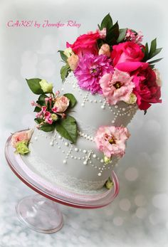 Floral and Lace  by Cake! By Jennifer Riley  - http://cakesdecor.com/cakes/254096-floral-and-lace