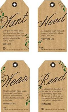 Printable tags with Bible verses for 4 Christmas gifts - something they want, need, wear, and read