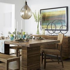 Paloma II dining table and sideboard with Fiji chairs and bench | Crate and Barrel